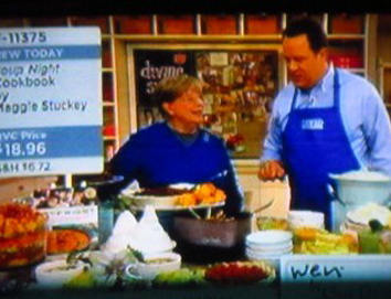 Maggie on QVC in the Kitchen with David